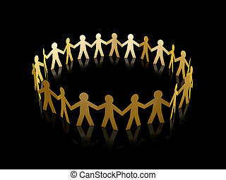 golden paper men circle - golden paper men team circle over...