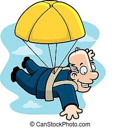 Golden Parachute - A cartoon businessman with a golden...
