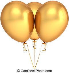 Golden party balloons