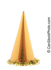 Golden party hat cone.