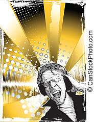 golden party poster background with DJ in action