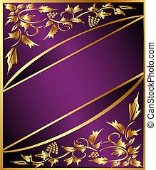 gold(en), patrón, uva, plano de fondo, banda