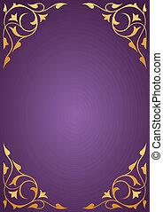Golden pattern frames on purple background