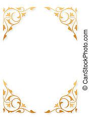 Golden pattern frames on white