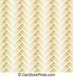 Golden Pattern with Chevron on White Background.