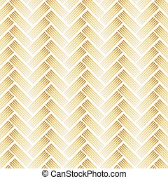 Golden Pattern with Chevron on White Background.