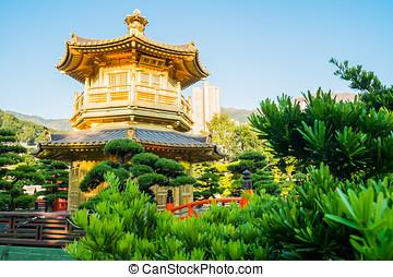 Golden Pavilion of Chi Lin Nunnery chinese garden in Hong Kong