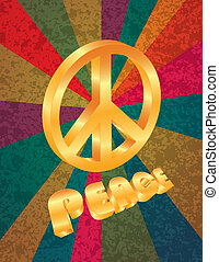 Golden Peace Symbol on Rays Background Illustration