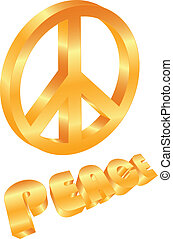 Golden Peace Symbol on White Background Illustration