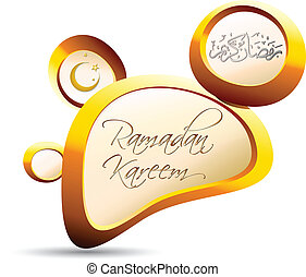 Ramadan Kareem - Golden pebble 3d background and Ramadan...