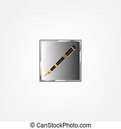 golden pen on white background