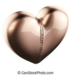 Golden Pendant In Heart Shape