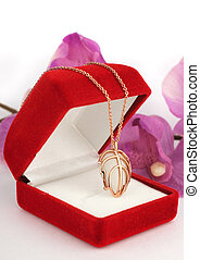 pendant in jewelry box with flower background