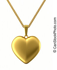 Golden pendant in shape of heart on chain isolated on white....