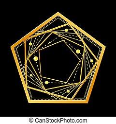 Golden pentagon on black background. Vector illustration.