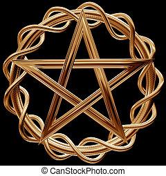 Golden pentagram - Illustration of an ornate gold pentagram...