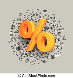 Golden percent sign on icon background.