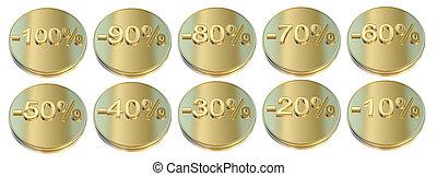 Golden percentage icons