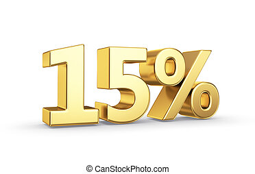 Golden percentage value symbol - 15 golden percent symbol...