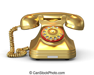 Golden phone on white isolated background. 3d