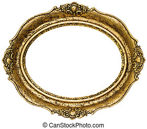 Golden Picture Frame - Golden Oval Picture Frame Cutout