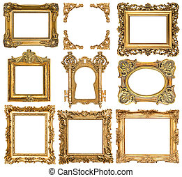 Golden picture frames. Baroque style antique objects