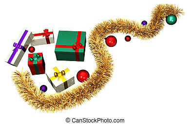 Golden piece of tinsel with colored gifts