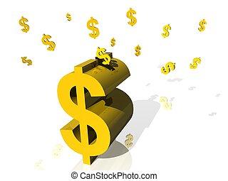 Golden piggy bank dollar