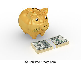 Golden piggy bank looking at dollar pack.