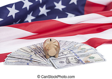 Golden Piggy Bank on One Hundred Dollars with American Flag