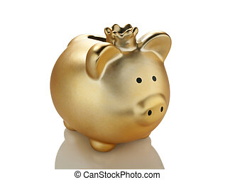 Golden piggy bank with crown.