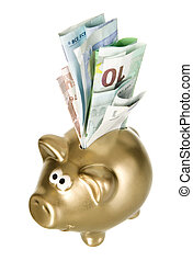 Golden piggybank with paper money - Golden money box pig...