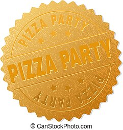 Golden PIZZA PARTY Medallion Stamp