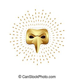 Golden plague doctor mask with splash halo. Venetian carnival symbol on a white background.