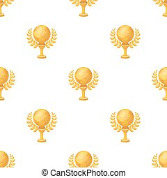 Golden planet with a wreath.The trophy for the best film about the Earth.Movie awards single icon in cartoon style vector symbol stock illustration.