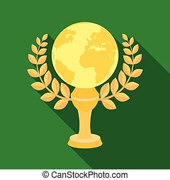 Golden planet with a wreath.The trophy for the best film about the Earth.Movie awards single icon in flat style vector symbol stock illustration.