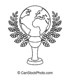 Golden planet with a wreath.The trophy for the best film about the Earth.Movie awards single icon in outline style vector symbol stock illustration.