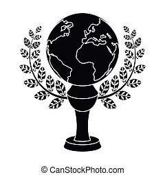 Golden planet with a wreath.The trophy for the best film about the Earth.Movie awards single icon in black style vector symbol stock illustration.