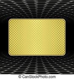 plaque - golden plaque on black background