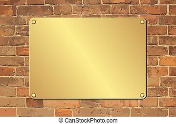 plaque - golden plaque on brick wall