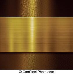 Golden plate over black brushed metallic background 3d illustration