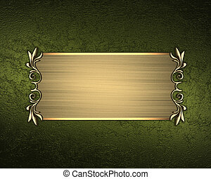 Golden plate with patterns on a green background. Design template. Design site