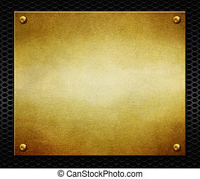 Golden plate with rivets on black perforated metal background. 3d illustration.