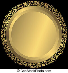 Golden plate with vintage ornament on black background (vector)