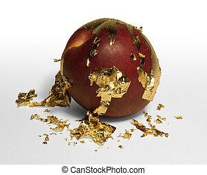 golden plated peeling peach - gold plated peach peeling away...