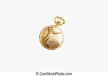 Golden pocket watch.