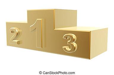 golden podium of top 3 winner isolated on white background