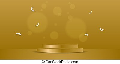 Golden podium with bokeh background design vector