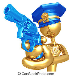 Golden Police Officer With Revolver - 3D Concept And...