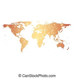 Golden Political World Map with global technology networking concept. Digital data visualization. Scientific cybernetic particle compounds. Big Data background communication. Vector illustration.